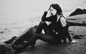 Picture girl, pose, brunette, black and white