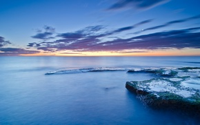 Picture stones, Spain, shore, coast, moss, sea, the moon, the evening, blue, Valencia, the sky, calm, ...
