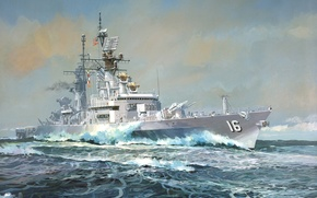 Wallpaper Destroyer, Ship, Sea, The sky, Figure