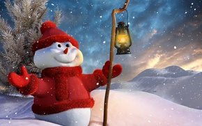 Wallpaper winter, smile, Christmas, lantern, New year, snowman, christmas, smile, winter, snow, snow, stick, New Year, ...