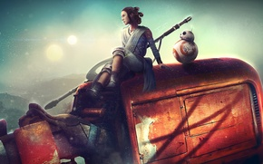 Picture girl, robot, Star Wars, art, Star Wars: The Force Awakens, rey, Star wars: the Force …