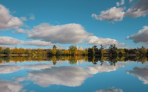 Picture autumn, the sky, clouds, reflection, trees, nature, lake, sky, trees, landscape, nature, autumn, lake, fall, …