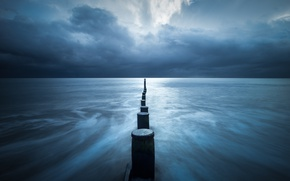 Picture storm, sea, seascape, cloudy, pillars