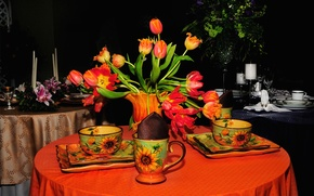 Picture flowers, table, bouquet, plate, Cup, tulips, still life, set