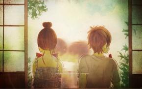 Picture summer, back, kiss, watermelon, door, two, art, bokura ga ita, yuuki obata, motoharu yano, nanami …