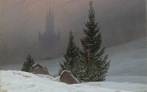 Picture snow, castle, Christmas, spruce, picture, haze, winter landscape, Caspar David Friedrich