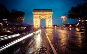 Picture auto, the sky, clouds, trees, night, street, lights, France, Paris, bus, Arc de Triomphe, Champs-Élysées