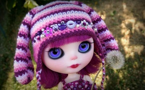 Picture dandelion, hat, toy, doll