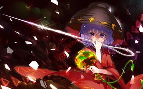 Picture fragments, needle, blue hair, bowl, touhou projeck, clapper