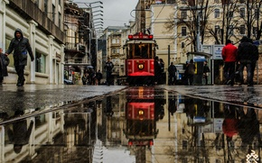 Picture water, home, puddle, tram, Istanbul, Dol