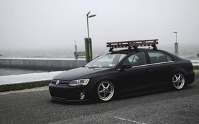 Picture the sky, fog, shore, Volkswagen, pierce, black, Jetta, MK6