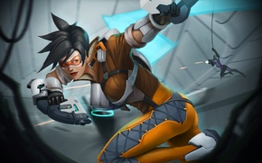 Picture gun, weapons, art, blizzard, shootout, Tracer, overwatch, Widowmaker