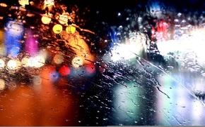 Picture glass, lights, rain, rain, bokeh