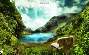 Picture greens, the sky, water, bench, nature, river, mountain