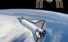 Picture space, Earth, orbit, ISS, Buran, 3D graphics, The Soviet copy of the Shuttle - OS-120
