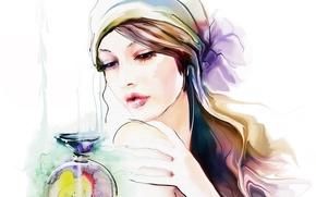 Wallpaper perfume, look, Tatiana Nikitina, hand, face, shawl, hair, makeup, girl