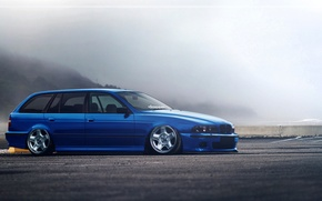 Picture BMW, Blue, E39, Stance, Low, Estate, Hugo Silva