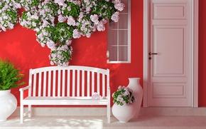 Picture flowers, the door, shop, vases