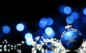 Wallpaper New Year, holidays, winter, bokeh, New Year, Christmas, ball, Christmas, pattern, blue, the scenery