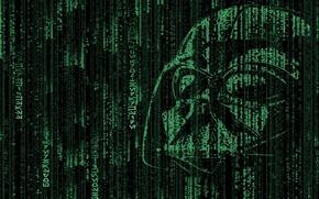 Wallpaper Darth Vader, dark side, Star Wars, code, Darth Vader, Matrix, matrix, hacker