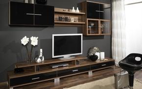 Wallpaper design, room, tree, furniture, interior, TV, wardrobe, brown, wall