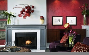 Picture flowers, design, photo, room, Wallpaper, interior, fireplace, bright