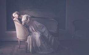 Wallpaper girl, furniture, dress, vintage