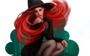 Wallpaper hat, Halloween, girl, red, art, halloween, witch