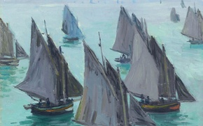 Picture picture, sail, seascape, Claude Monet, Fishing Boats. Calm Sea