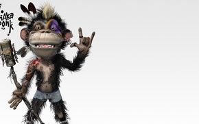 Picture music, monkey, microphone, funny, goz, indian feather, makeup, Shaka ponk