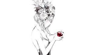 Picture Sawasawa, flowers, Apple, figure, art, Girl