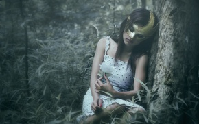 Picture forest, girl, loneliness, mask