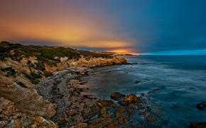Picture sea, sunset, lights, stones, shore, the evening, twilight