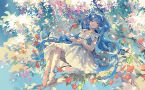 Picture girl, flowers, smile, tree, branch, anime, art, vocaloid, hatsune miku, rrr