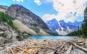 Picture the sky, trees, mountains, lake, Canada, canada