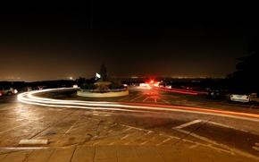 Wallpaper auto, night, traces, Road