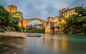 Picture the sky, trees, landscape, mountains, bridge, lights, river, home, the evening, Bosnia and Herzegovina, Mostar
