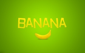 Wallpaper minimalism, banana, the inscription, green, fruit