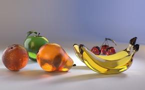Picture cherie, bananas, glass, pear, orange, orange, cherry, Apple, apple, pear, glass, banana
