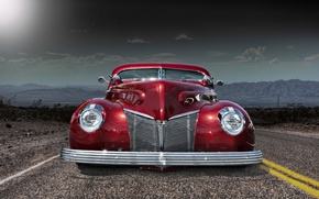 Picture road, retro, car, classic, the front, classic car