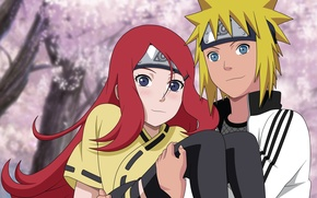 Wallpaper girl, love, red hair, anime, blue eyes, boy, blonde, ninja, manga, children, shinobi, naruto shippuden, ...