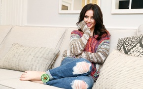 Picture girl, eyes, smile, beautiful, model, beauty, jeans, hair, sofa, babe, pose, cute, princess, actress, couch, …