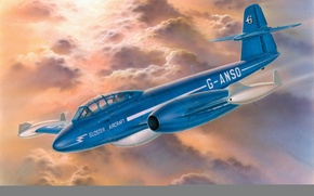 Picture war, art, airplane, painting, aviation, jet, Gloster Meteor T.Mk.7