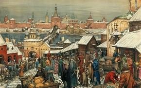 Picture bridge, river, people, building, picture, the Kremlin, painting, cart, canvas, trade, merchants, train, Novgorodskiy Torg, …