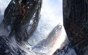 Picture ART, MOUNTAINS, SNOW, WINTER, PEOPLE, SPACESHIPS