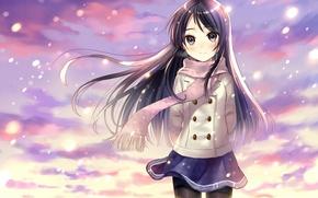 Picture girl, snow, smile, anime, scarf, art, form, schoolgirl, hanekoto
