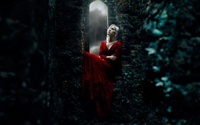 Picture girl, castle, red dress, medieval, Kindra Nikole
