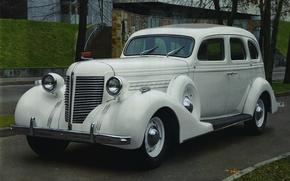 Picture retro, car, limousine, Soviet, Executive, ZIS 101A, seven-seater, ZIS 101A