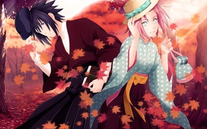 Picture girl, love, game, Naruto, hat, woman, anime, leaves, man, couples, book, ninja, asian, manga, Uchiha …