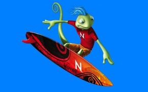 Picture lizard, Novell, SUSE Linux geeko, Surfer